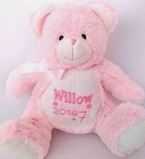 Personalised Pink Teddy Bear. New Baby/Birthday/Christening keepsake gift