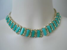 CLASSY!!! Vintage THERMOSET Green Stones CHOKER NECKLACE RARE Collection