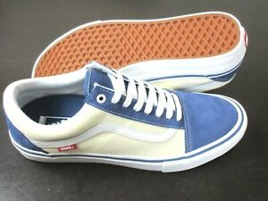 Vans Mens Old Skool Pro Sty Navy Blue Classic White Canvas Suede Shoes Size 9.5