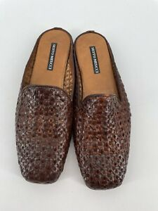 Sesto Meucci Italy Shoes Brown Woven Leather Mules Slip On Slides Size US 8.5 N