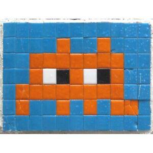 Pixel Monster Space Invader Orange Tiles Unframed Wall Art Poster