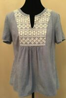 Vineyard Vines Womens Denim Pullover Blouse Size Large Blue Embroidered Cotton