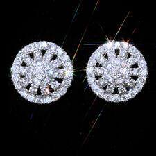 1.1Ct Natural Diamond 14K White Gold Cluster Earrings EWG122