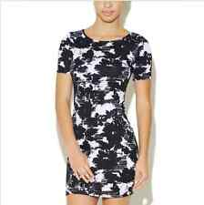 Arden B Floral Abstract Print Dress Black White Small S