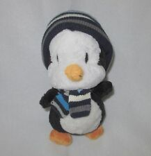 The Children's Place Penguin Blue Striped Hat Scarf Plush Soft Toy Stuffed 10""