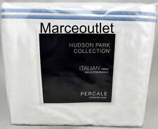 Hudson Park Italian Linens Cotton Percale King Duvet Cover White / Chambray Blue