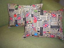 """bn handmade pair of 70's music / punk fabric complete  cushions - 18"""" x 14"""" each"""