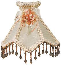 "Victorian Night Light Cream w/ Trim, Rosettes & Hanging Beads 7.5"" x 7.5"""