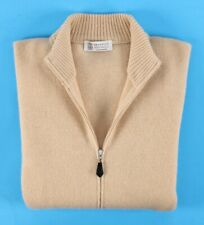 $2495 BRUNELLO CUCINELLI 100% CASHMERE Full Zip THICK Sweater - Beige - 56