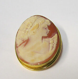 """Antique Gold over Silver Reed Edge Shell Cameo Brooch Pin 1.75"""" x 1.25"""""""