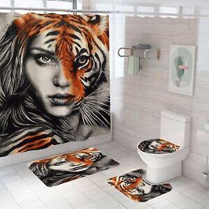 Tiger Woman Shower Curtain Set Bathroom Rug Bath Mat Non-Slip Toilet Lid Cover