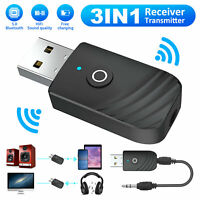 Wireless USB Bluetooth 5.0 Audio Transmitter Receiver 3in1 Adapter For TV PC Car