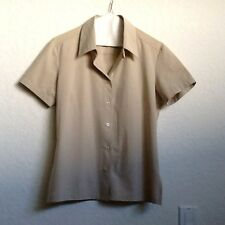 IRIE' STRETCH WASH WOMEN'S BLOUSE SIZE S/M FRENCH DESIGNER TAUPE BEIGE S/S