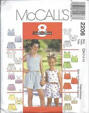 McCall's Sewing Pattern # 2206 Adorable Girls Top and Shorts Size 7-8-10