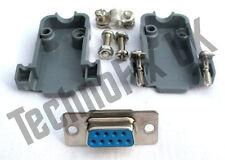 DB9 female DB9F socket connector  + shell/shroud/hood UK seller serial, COM port
