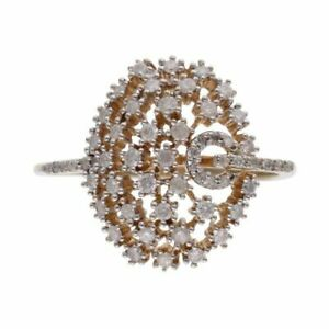 Womens - 9ct Yellow Gold Diamond Oval Cluster Ring - R