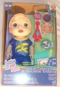 BABY ALIVE SUPER SNACKS SNACKIN' LUKE BOY DOLL WITH BLONDE HAIR NEW IN PACKAGE