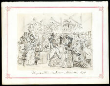 CHRYSANTHEMUM SHOW NOV.1874 THERESA ROSE MARRABLE ANTIQUE PEN & INK DRAWING/SWA