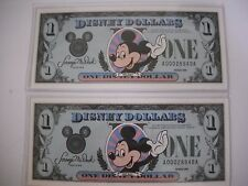 Disney Dollars 1988 Consecutive numbers 2 One Dollar Bills Mint