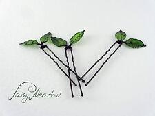 Small Green Leaves Hair Pins (set of 3) Handmade Resin Kanzashi Clip Fairy Magic