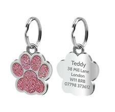 Personalised Pet Tags Engraved Dog Cat Charm Glitter Name Collar Animal ID Neck