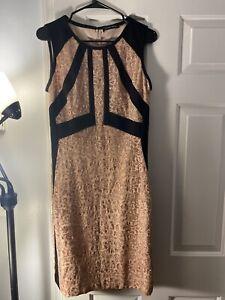 Ivanka Trump Metallic Lace Colorblocked Sheath Dress Peach Size 14
