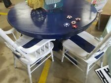 Oak Navy & White Farmhouse/Coastal/Rustic Dining Table & Chairs w/ Leaf