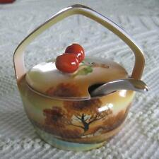 Noritake China Hand Painted Handled Condiment Jar with Spoon