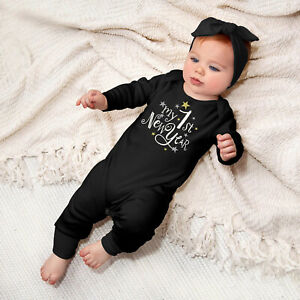 Infant Baby Boys Girls Happy New Years Letter Print Romper Jumpsuit+Headbands