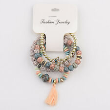 Charm Boho Women Multi-layer Stretch Beads Natural Stone Tassel Bracelet Bangle