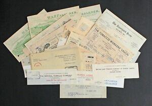 Vintage and Antique Paper Ephemera, 46 Letterhead Pieces, Various Sizes