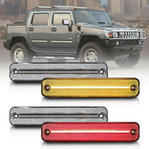 Clear Lens LED Side Marker Light for 2003-2009 Hummer H2 Amber/Red Front/Rear 4X