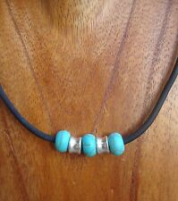 Men's Choker Turquoise Beaded Black Necklace USA 18 inches