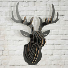 3D Wood Puzzle Model Elk Deer Head Animal Sculpture Ornament DIY Wall Art Decor