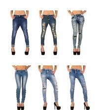 Markenlose stonewashed Damen-Jeans im Boyfriend-Stil