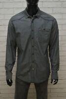 TOMMY HILFIGER Uomo Camicia Grigia Manica Lunga Camicetta Taglia XL Maglia Shirt