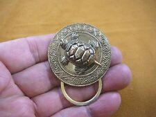 (E-522) Tortoise turtle loop round brass Eyeglass pin pendant ID badge holder