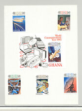 Ghana #835-840 Communications, Satellite, Ships 4v &  S/S Imperf Proofs on Cards