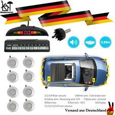 Parksensor Einparkhilfe Funk Rückfahrwarner 8X Set Vorne Hinten LCD Silber Auto
