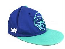NEFF Adult Blue and Teal Embroidered Logo Baseball Hat Cap Snapback