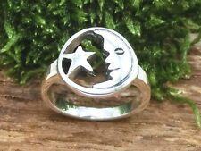 Mond und Stern 925 Sterling Silber Ring Gestirne Sterne Mondring