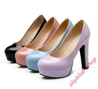Womens New Patent Leather Round Toe Platform Pump High Heels Party Dress Shoes