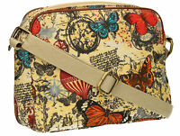 SWANKYSWANS Womens Ladies Butterfly Map Crossbody bag OilCloth Designer Handbag