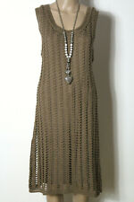 Laura di Sarpi Kleid Gr. XL/L braun wadenlang Baumwolle ärmellos Häkel Kleid