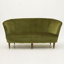 Divano due posti  in velluto verde anni 40, Ico Parisi style, mid century sofa