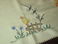 EASTER CHICK & LARGE DAFFODILS! VTG GERMAN YELLOW TABLECLOTH + FREE TABLECLOTH
