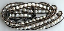 6 - 7MM WHITE FRESHWATER PEARL & BROWN LEATHER SINGLE STRAND WRAP CUFF BRACELET