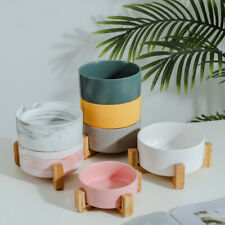 Ceramic Cat Dog Feed Dish & Wood Stand No Spill Pet Food Water Feeder Pet Bowl