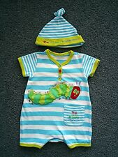 VERY HUNGRY CATERPILLAR baby romper/bodysuit with hat (size 00, 3-6 months)