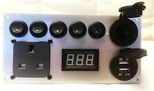 Silver Camper Switch Panel 2.1A USB 12V 240V CBE T5 T4 T25 Split Charge